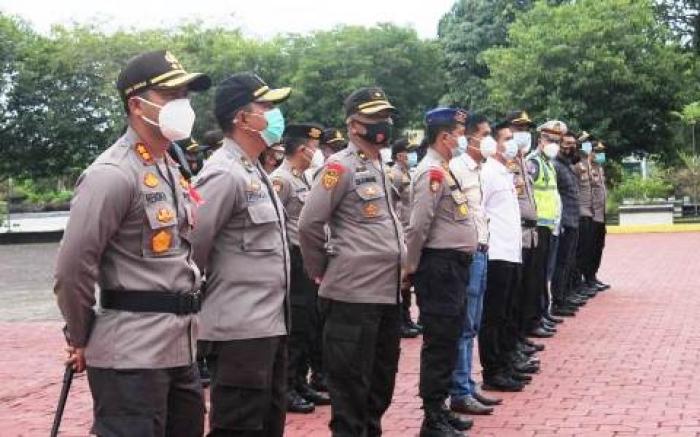 Jajaran Polres Bengkalis Apel Pengamanan Pleno KPU