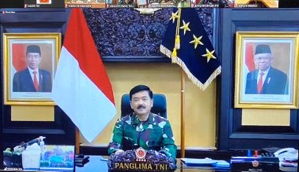 Panglima TNI dan Pangkotama TNI Wilayah Jawa Timur Jumpa di Video Conference